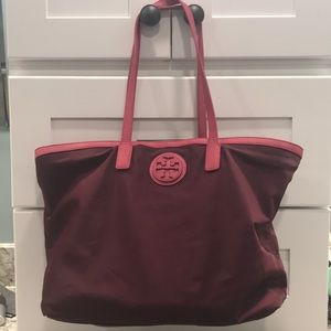 Tory Burch Vinyl Tote with Leather Accents